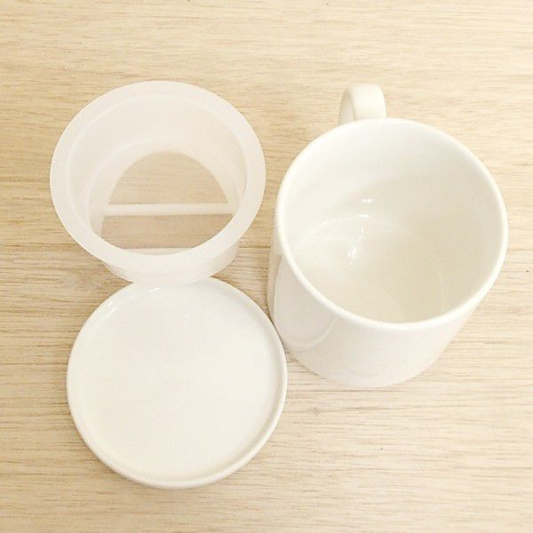 マグカップ フタ付 白無地 (茶こし付) 陶器 業務用食器 商品番号:3y787-04-652