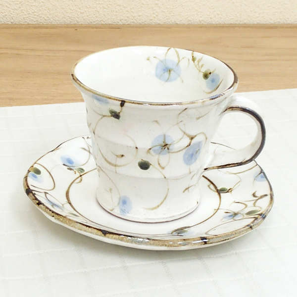 コーヒーカップソーサー 粉引ブルー 陶器 和食器 業務用食器 商品番号:6a14-51