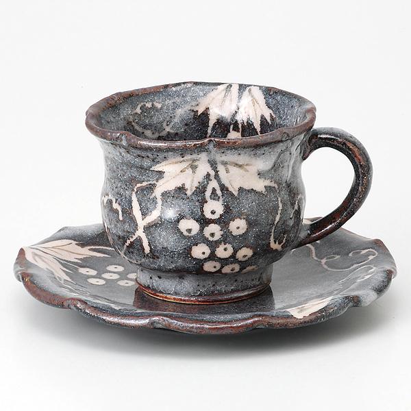 コーヒーカップソーサー ねずみ志野 葡萄紋 陶器 和食器 業務用食器 商品番号:6a25-53
