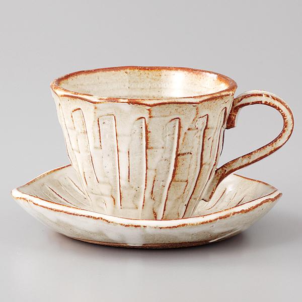 コーヒーカップソーサー 白均窯 そぎ十草 陶器 和食器 業務用食器 商品番号:6a29-58