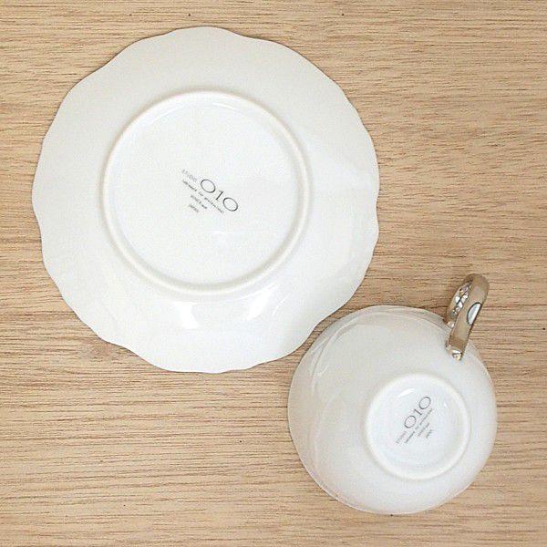 コーヒーカップソーサー 白×プラチナ Roseローゼ 洋食器 業務用食器 STUDIO010 商品番号:srs-206-207