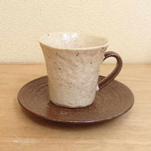 コーヒーカップソーサー アメ釉 年輪